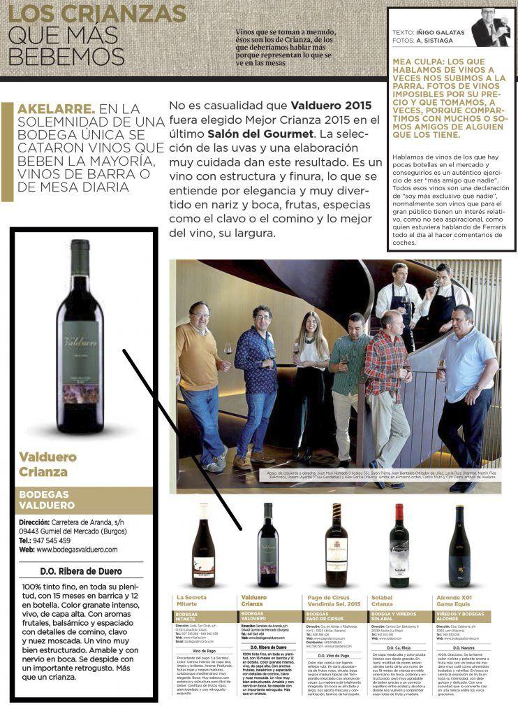 Diario Vasco destaca los crianzas de Bodegas Valduero